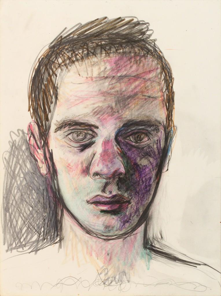 Patrick Angus, Self Portrait, ca. 1989, Bleistift und Kreide auf Papier, 30,5 x 22,9 cm