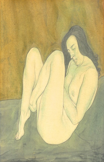 Austin Osman Spare, 'Seated female nude', 20th Century, Drawing, Collage or other Work on Paper, Pencil and watercolour, Day & Faber