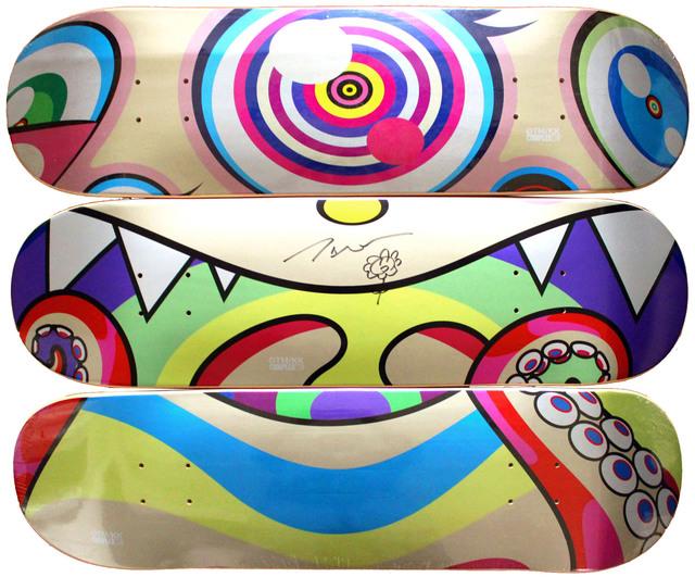 Takashi Murakami, 'Skateboard set of 3 with Original Flower Drawing and signature', 2017, EHC Fine Art Gallery Auction