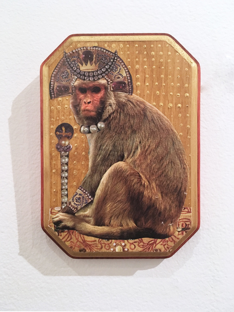 Deming King Harriman, 'Monkey King', 2019, Drawing, Collage or other Work on Paper, Acrylic and collage on wood, Deep Space Gallery