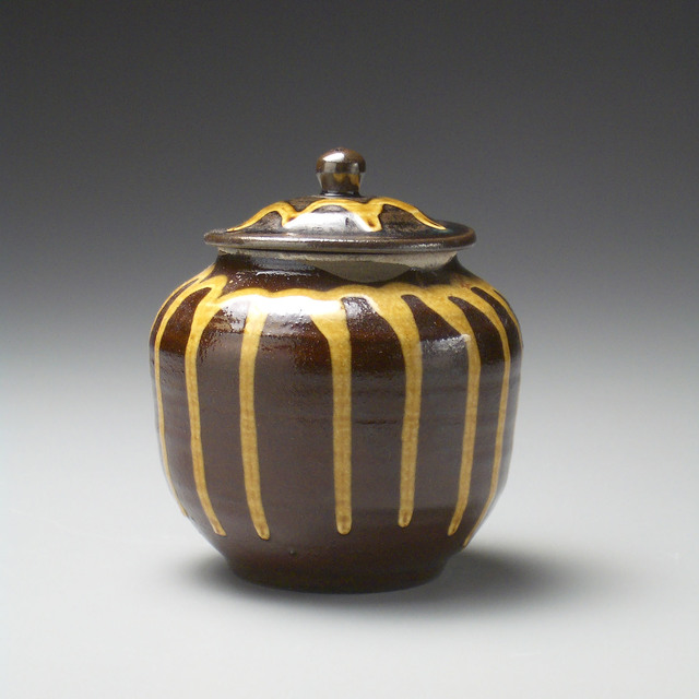 , 'Small Lidded dark Brown Jar with Yellow Dripping Glaze Pattern Encircling the Vessel,' 1991, LACOSTE / KEANE GALLERY