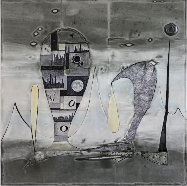 Russell Crotty, 'Epic Moon', 2019, Painting, Ink, acrylic, plastic, fiberglass, and tinted bio-resin on paper on wood, Shoshana Wayne Gallery