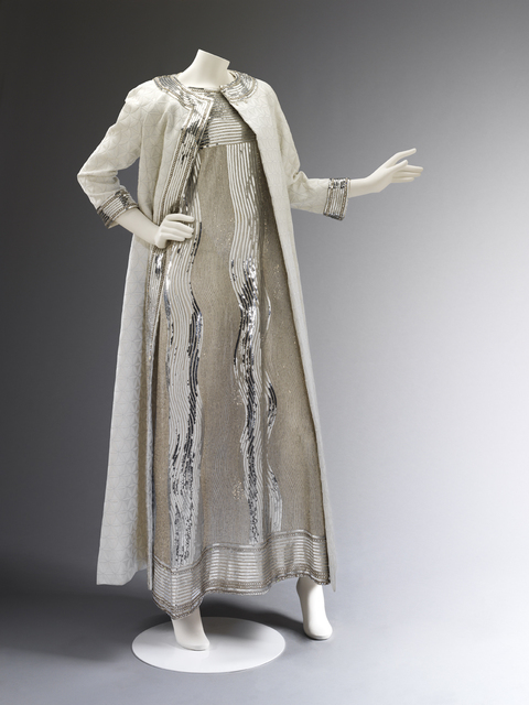 , 'Evening dress of embroidered net and matelasse coat,' 1966, Victoria and Albert Museum (V&A)