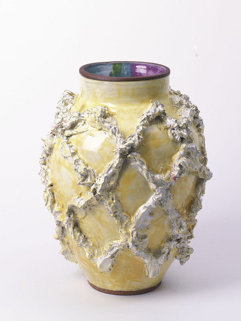 , 'Large Slip Motif Vase with Yellow Ochre + Polychrome,' 2018, Häusler Contemporary