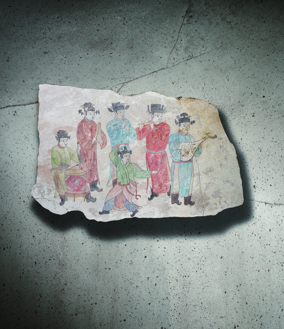 Unknown Artist, 'A Polychrome Fresco Fragment Painted with Five Musicians and a Dancer 遼10世紀 灰泥彩繪樂手舞者圖壁畫殘部', China: Liao Dynasty-10th century, Rasti Chinese Art