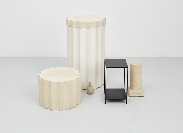 Haris Epaminonda, 'Untitled #03 g/i', 2017, Sculpture, Two sandstone carved columns, white limestone carved column, small browned metal table with black glass top, found sandstone carving, small old clay vase, Casey Kaplan