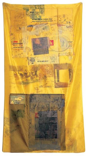 Robert Rauschenberg, 'Sulphur Bank (Hoarfrost)', 1974, Solvent transfer on fabric with cardboard, and paper bag, Robert Rauschenberg Foundation