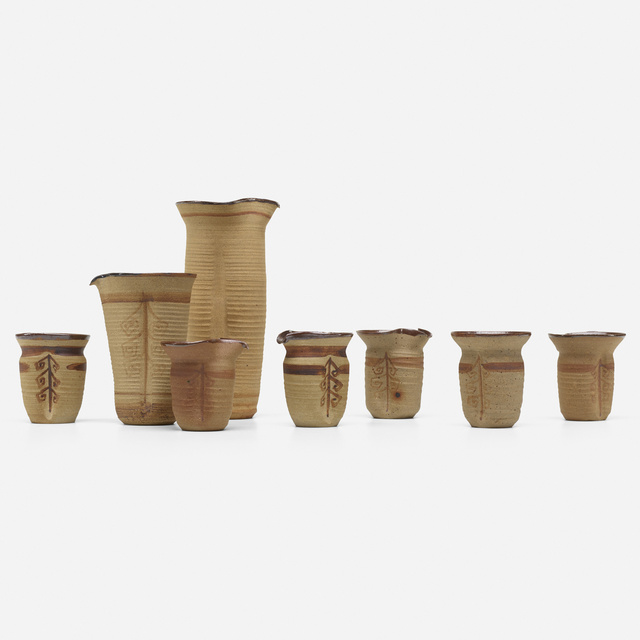 Loloma Pottery, 'collection of eight vessels', c. 1954, Wright