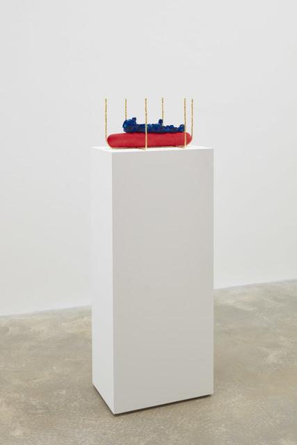 Matthew Ronay, 'Recumbent Effigy', 2019, Sculpture, Basswood, dye, flocking, plastic, steel, gold leaf, HMA, Casey Kaplan