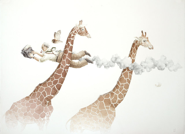 , 'Over to You (Roald Dahl, Reticulated Giraffes, Long Eared Owl),' 2015, Galerie Youn
