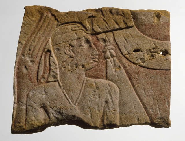 , 'Temple Relief of King as Child Protected by Goddess,' ca. 700, Brooklyn Museum