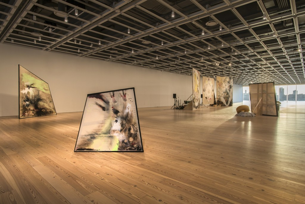 "Installation view of ""Open Plan: Lucy Dodd"" (March 17 – March 20, 2016).  Whitney Museum of American Art, New York,  N.Y. Courtesy the artist and David Lewis Gallery, New York. Photography by Bill Orcutt"