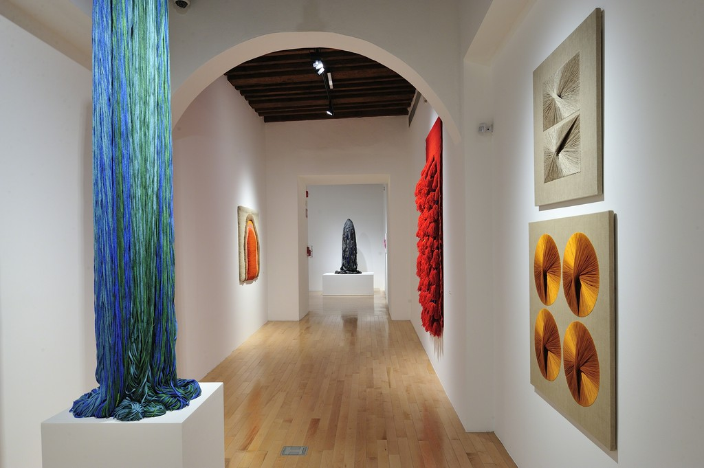 """View of """"Sheila Hicks - Free Threads, Textile and its Pre-Columbian Roots, 1954-2017"""", Museo Amparo, Puebla, Mexico, 2017."""