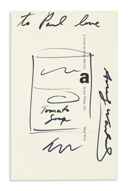 , 'Tomato Soup (dedicated to his manager Paul Morrissey and signed three (3) times by Warhol),' ca. 1968, Alpha 137 Gallery