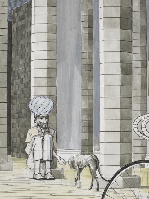 Charles Avery, 'Untitled (Two cyclists beneath the porticos of the City Wall)', 2021, Drawing, Collage or other Work on Paper, Pencil, acrylic and ink on paper mounted on linen, GRIMM