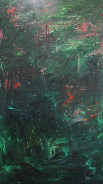 MD Tokon, 'Untitled Green and Red', 2018, Painting, Acrylic on Canvas, Isabella Garrucho Fine Art