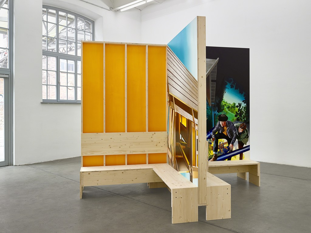 Susanne Kühn & Inessa Hansch, Bank, 2015, construction: laminated wood, painting: acrylic on wallboard, 270 x 329 x 329 cm