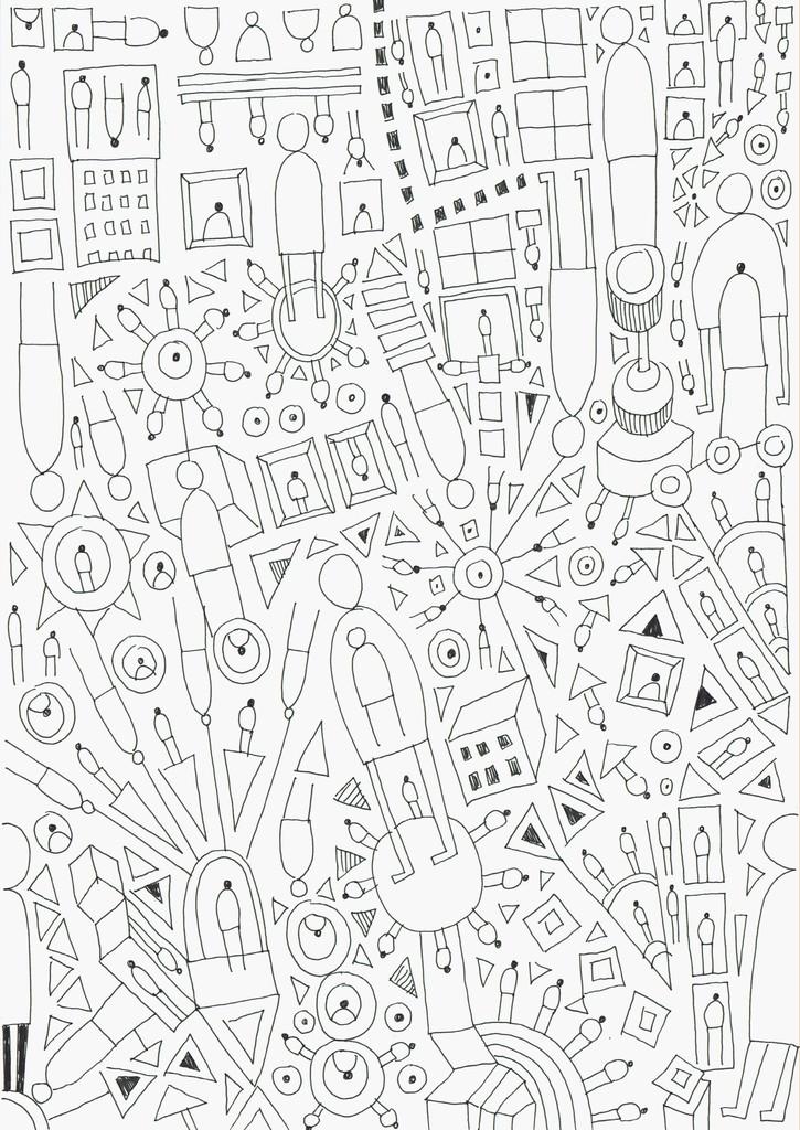"""""""12/21/18"""" by Jody Zellen, 2018, archival marker on paper, 8.25 x 11.75 inches"""