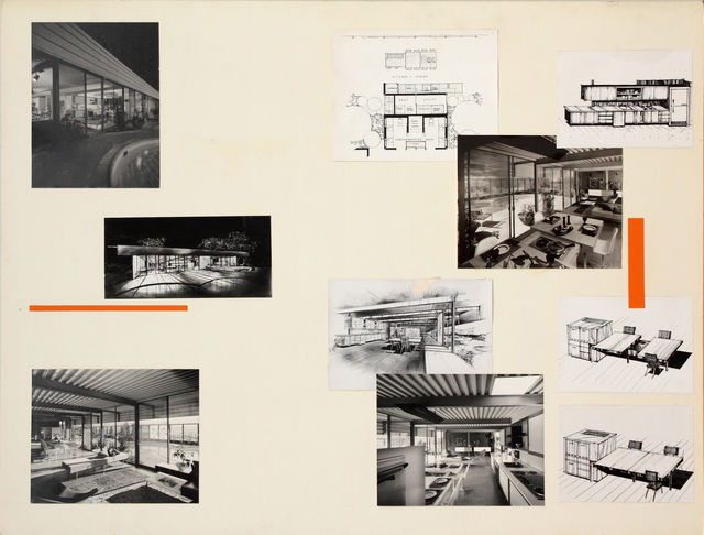 , 'Presentation panels for Eichler Steel House X-100, San Mateo, CA with vintage original photographs by Ernest Braun and reproductions of site plan,' 1956, Edward Cella Art and Architecture