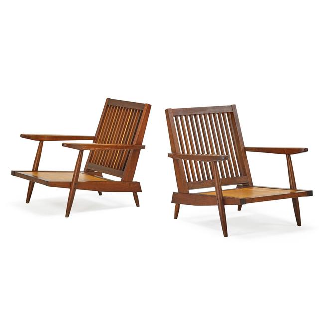 George Nakashima, 'Pair Of Cushion Lounge Chairs, New Hope, PA', 1959, Rago/Wright