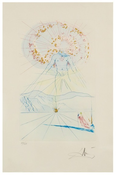 Salvador Dalí, 'Bridegroom Leaps Upon the Mountains', 1971, Print, Etching in colors with pochoir and gold on wove paper, Caviar20