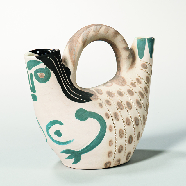Pablo Picasso, 'Prow Figure', 1952, Print, Turned white earthenware pitcher with blue, beige, and black, Skinner