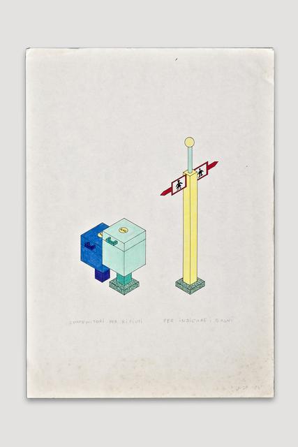 , 'Contenitoi per Rifiuti per Indicare I Bagini (Trash Container, Sign Post for Restrooms),' 1984, The Modern Archive