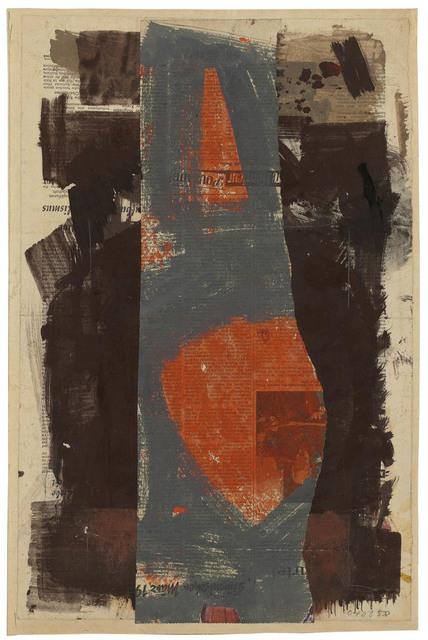 , 'Rote Flecken in Grau, zwischen braunen Bahnen,' 1958, Galerie Doebele
