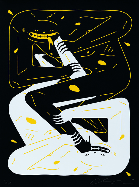 Cleon Peterson, 'Power', 2020, Print, Hand-pulled black and yellow screen print on 290gsm Arches rag paper with deckled edges, Blackline Gallery