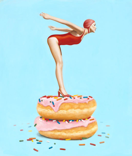 "Elise Remender, '""Day Dream"" Surrealistic oil painting of a woman in a red suit standing on donuts', 2019, Eisenhauer Gallery"