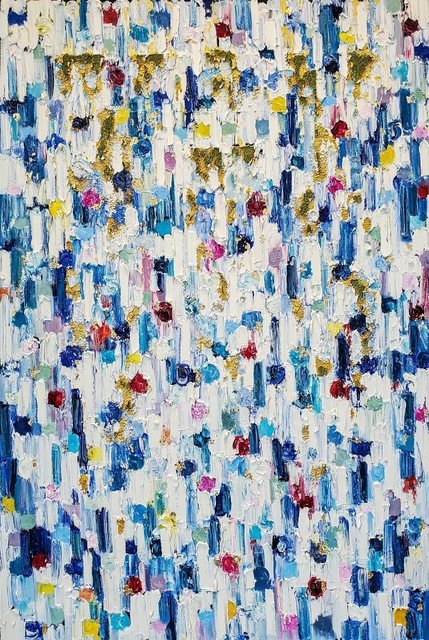 Cindy Shaoul, 'Dripping Dots - Saint Tropez', 2020, Painting, Oil Mixed Media and Glass On Canvas, The Grogan Gallery