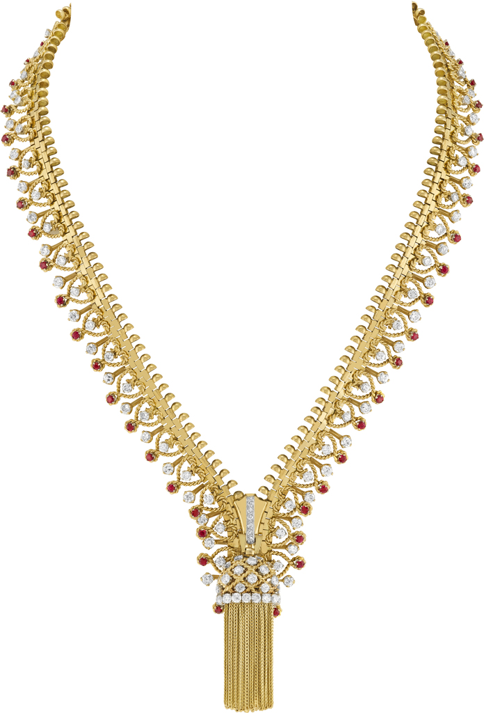 Fermeture éclair necklace transformable into a bracelet, 1951. Yellow gold, white gold, rose gold, rubies, diamonds. Heritage collection.