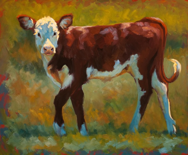 ", '""Spring in Her Step"" painterly depiction of a brown and white calf in green grass with dramatic light,' 2010-2017, Eisenhauer Gallery"