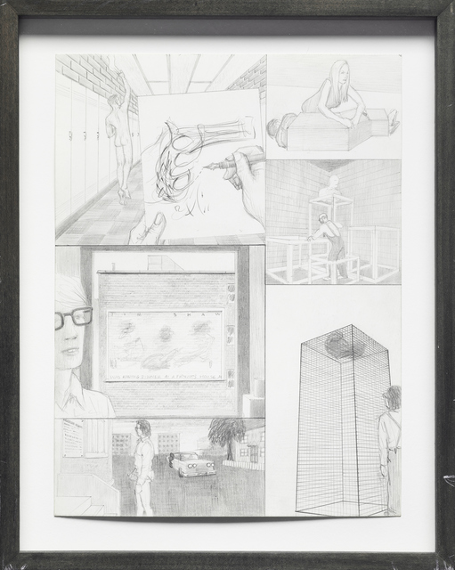 Jim Shaw, 'Dream Drawing: In a high school hallway', 1995, Drawing, Collage or other Work on Paper, Pencil on paper, Mireille Mosler Ltd.