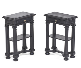 Pair of Italian Renaissance Style Ebonized Stands
