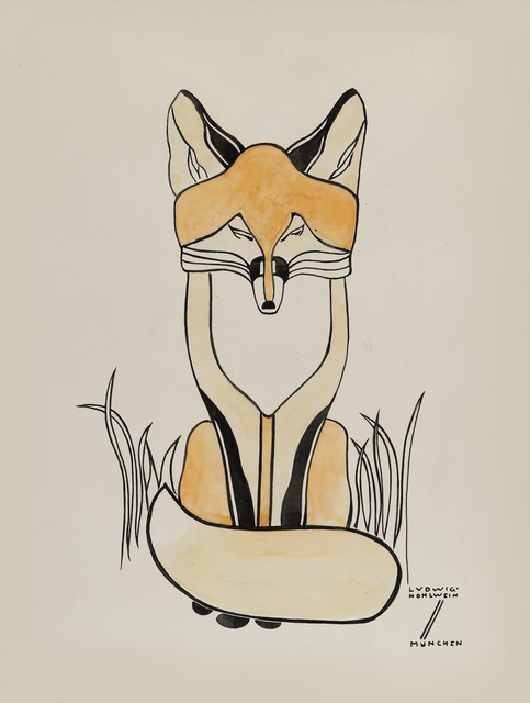 Ludwig Hohlwein, 'Fox', ca. 1900, Drawing, Collage or other Work on Paper, Pen and ink and watercolour, Day & Faber