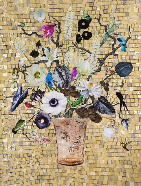 , 'French Glass with Emerald Cuckoo, Malachite Sunbird and Carmine Bee-eater,' 2017, Lyndsey Ingram