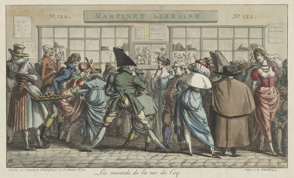 Pierre-Nolasque Bergeret, Les musards de la rue du Coq (The Dawdlers of the Rue du Coq), ca. 1804. Hand-colored lithograph. Yale University Art Gallery, Everett V. Meeks, B.A. 1901, Fund