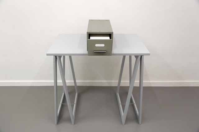 Stanley Brouwn, '1 m', 1974, Mixed Media, Card filer with 1000 index cards, with indication - each 1 mm, Micheline Szwajcer