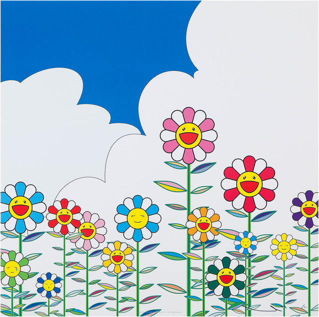 Takashi Murakami, 'Flowers 2', 2002, Print, Offset lithograph in colors with cold stamp and high gloss varnishing, Lougher Contemporary