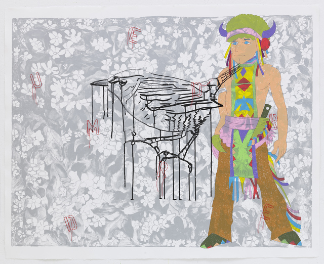 Ghada Amer & Reza Farkhondeh, 'The Weeping Bird', 2007, Mixed Media, Lithograph, silkscreen and embroidery on STPI handmade cotton paper, STPI