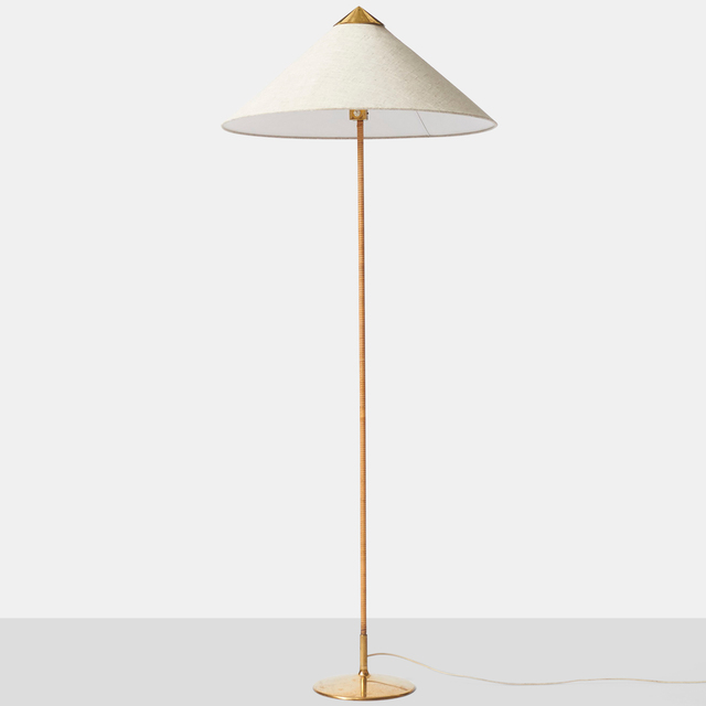 ", '""Chinese Hat"" Floor Lamp by Paavo Tynell,' ca. 1950, Almond & Co."