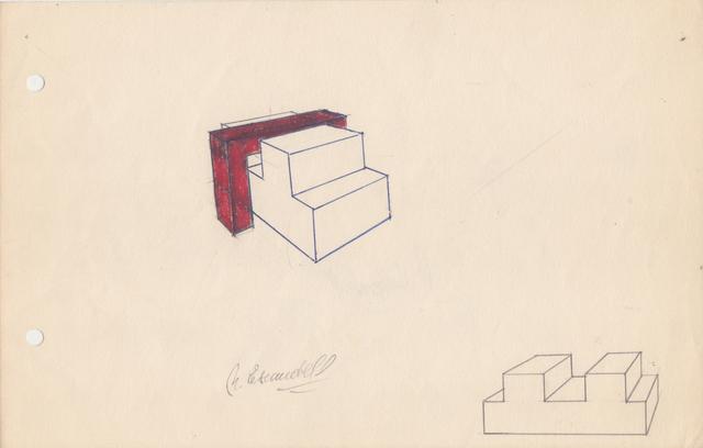 Noemi Escandell, 'Boceto para Estructura variable con escalones y volumen rojo', 1966, Herlitzka + Faria