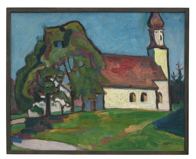 Gabriele Münter, 'Kirchlein von Riedhausen', 1908, Painting, Oil on cardboard, Ludorff