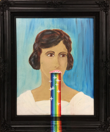 Rainbow Vomit Snapchat Filter on Woman's Portrait Purchased at Rob Pruitt's DesertX Flea Market Inside The Palm Springs Art Museum