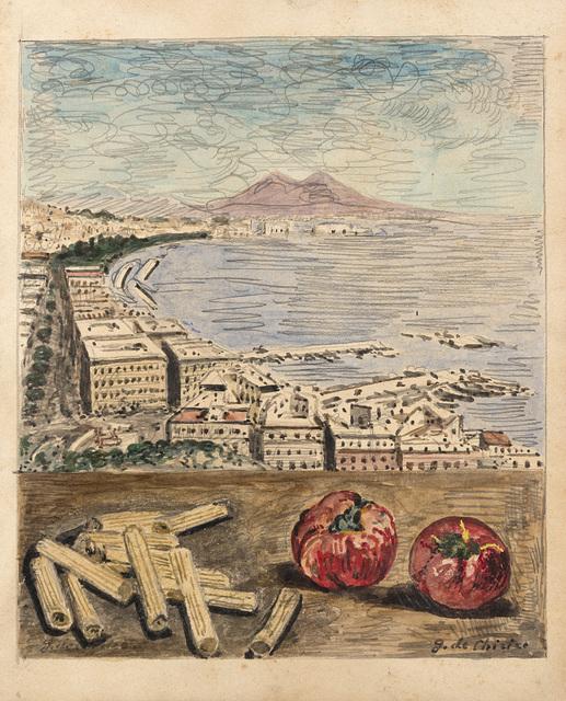 Giorgio de Chirico, 'Veduta di Napoli con maccheroni e pomodori', 1966, Il Ponte