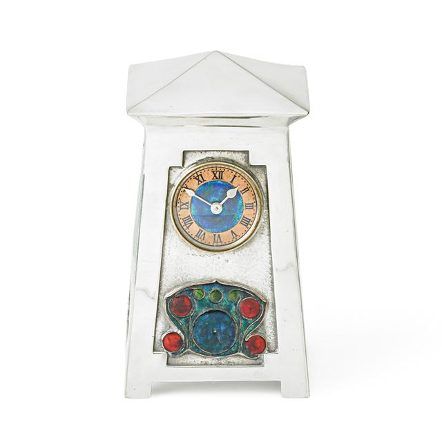 Archibald Knox, 'Liberty & Co., Fine Tudric Clock, England', ca. 1903-14, Design/Decorative Art, Pewter, enamel, copper, glass, Rago/Wright