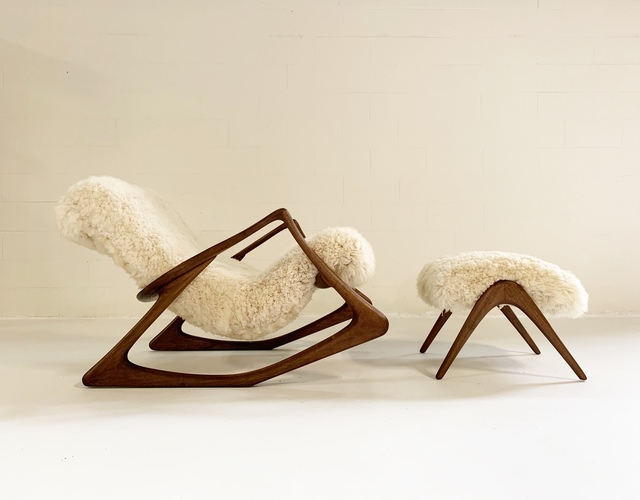 Strange Vladimir Kagan Sculpted Rocking Chair And Ottoman In California Sheepskin Ca 1963 Available For Sale Artsy Alphanode Cool Chair Designs And Ideas Alphanodeonline