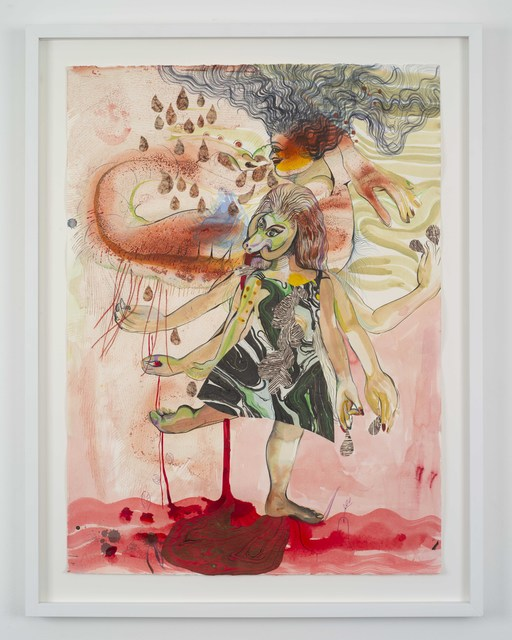 Rina Banerjee, 'Kick back and without relax pour your bloodline, tribes with tight wives, paint your earth pink and in red to remember molten lava and rains that would stain she stood tall to them all open mouth and with no money hush my honey listen for justice whispers so sunny', 2018, Galerie Nathalie Obadia
