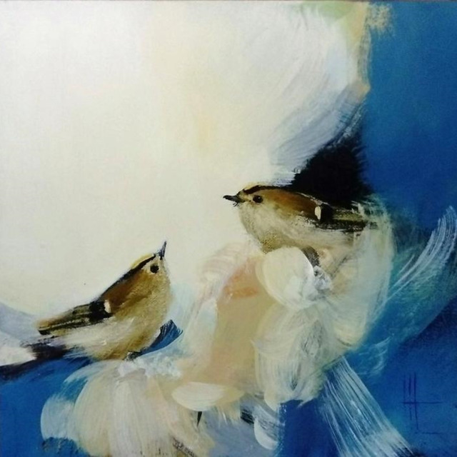 , 'Two Goldcrest in Blue & Gold,' 2019, Art5 Gallery